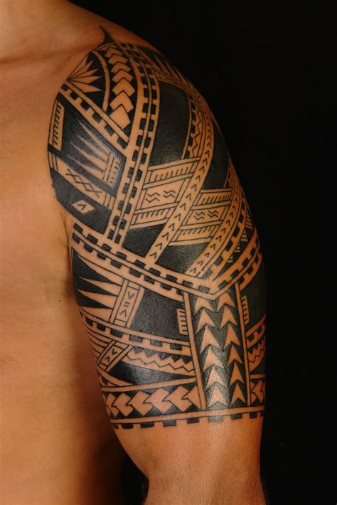 hawaiian quarter sleeve tattoo tribal hawaiian tattoo on left half sleeve