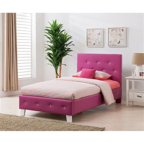 pink twin bed upholstered twin panel bed in pink 95112