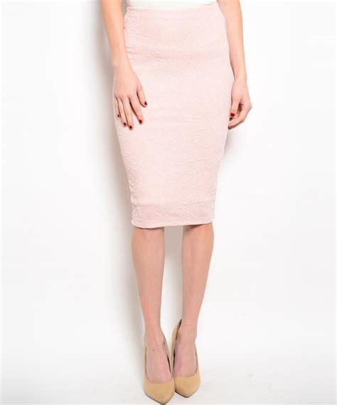 light pink pencil skirt glitter raised texture below knee length pencil skirt in