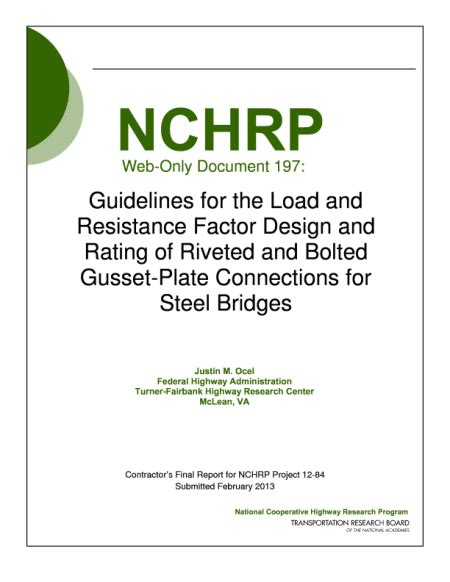 design criteria for bolted and riveted joints report contents guidelines for the load and resistance
