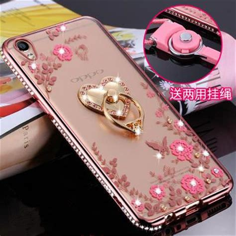fashion rhinestones gold ring cell phone cover for oppo r9 r7 r7s r9s
