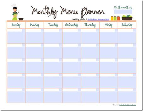 Editable Menu Planner Template by Monthly Meal Planner Also A Pdf File That You Can Edit