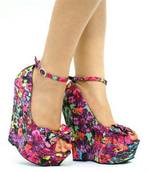 pattern colorful heels shoes high heels wedges colorful tropical rainbow