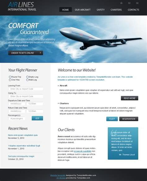 free homepage template free html5 website template airlines company webmaster