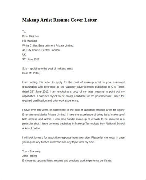 Cosmetic Cover Letter by Resume Cover Letter Exle 8 Documents In Pdf Word
