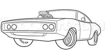 How To Draw The Fast And Furious 1970 Dodge Charger Step Dodge Charger Coloring Pages