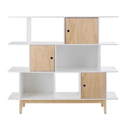 white wooden bookcase l 145 cm happy maisons du monde