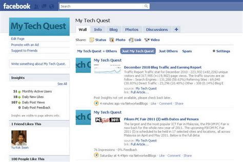join our fan page on facebook my tech quest s december 2010 blog traffic and earning report