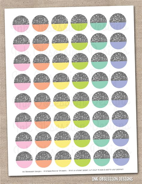 printable silver stickers ink obsession designs new gold silver glitter circles