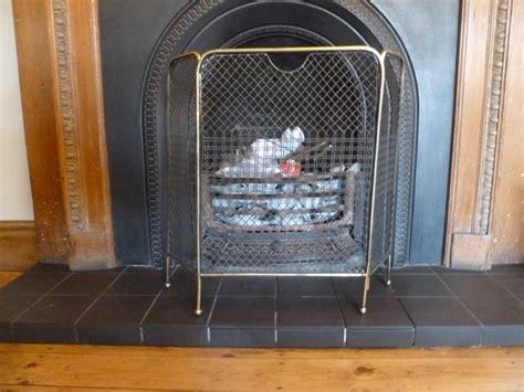 antique fireplace spark guard screen