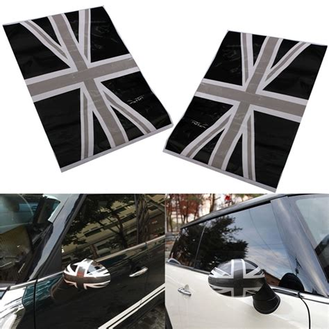 printable mirror vinyl 2pcs black union jack flag vinyl mirrors stickers for mini