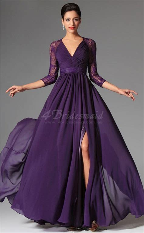 purple dress a line purple bridesmaid dresses purple v neck