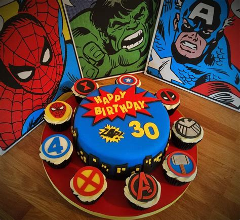 Marvel Superhero Cake and Cupcakes. 30th Birthday