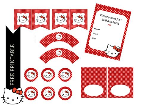 hello kitty printable party decorations free free red hello kitty printable birthday party ideas themes