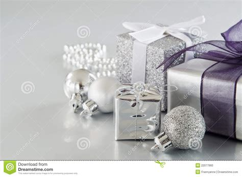 silver christmas gifts stock photo image of selection