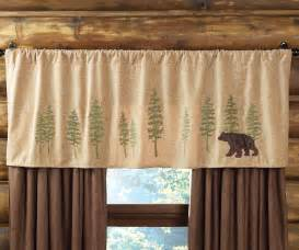 Lodge Curtains Highlands Cabin Bear Amp Trees Rod Pocket Valance