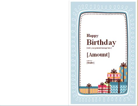 word 2007 birthday card template birthday note card template for word word excel templates