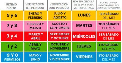 calendario de verificacion calendario verificacion estado mexico newcalendar
