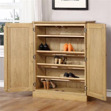 solid pale oak shoe cabinet fits 15 pairs