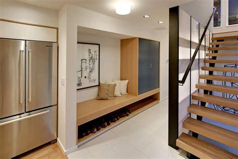 entryway bench  storage hall contemporary  built