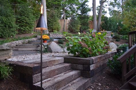 Alexandria Sloped Yard   Raised Patio, Fire Pit, & Water
