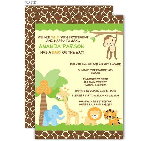 Safari Baby Shower Invitations by Jungle Safari Baby Shower Invitation Jungle Animals A