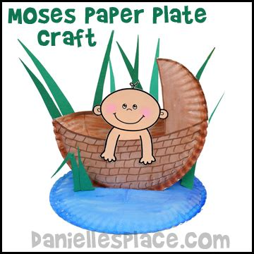 Paper Plate Crafts For Sunday School - baby moses in a basket paper plate bible craft for