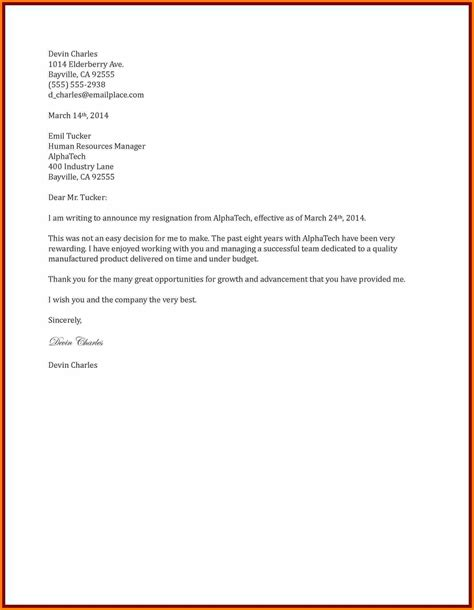 Resignation Letter Sle Housekeeping Informal Two Weeks Notice Letter