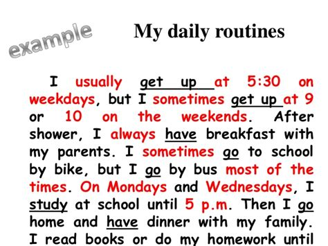 My Routine Day Essay by Grammar I Present Simple