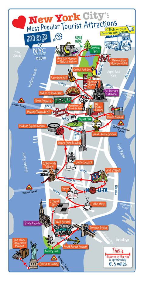 manhattan map of attractions maps update 58022775 new york city tourist map printable