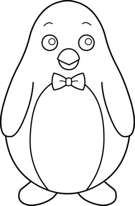 Penguin Clipart Outline by Colorable Penguin With Bow Tie Free Clip