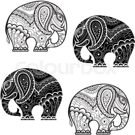 black and white pattern elephant seamless pattern with elephants black and white vector