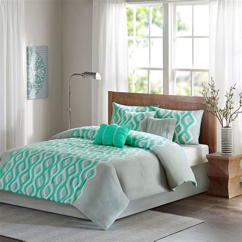 Green Bedding Set Beautiful Modern Chic Grey Mint Blue Green Ruffled Comforter Set 3 Pillows Ebay