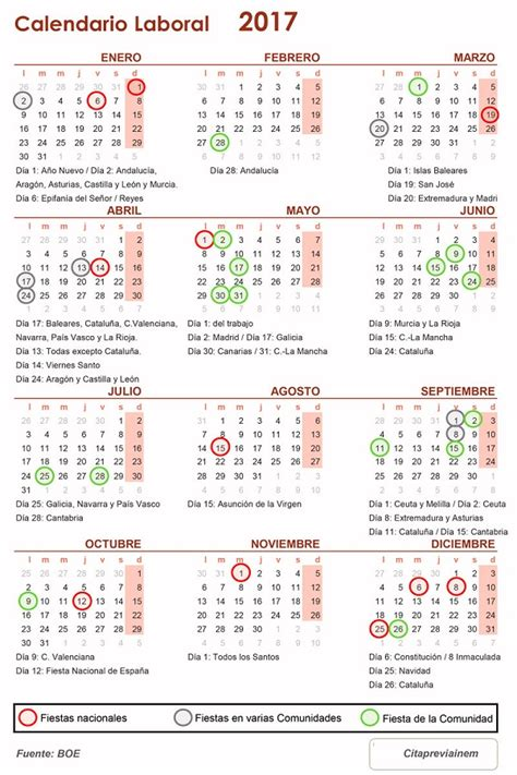 Calendario Laboral De 2017 C 243 Mo Descargar E Imprimir El Calendario Laboral De 2017