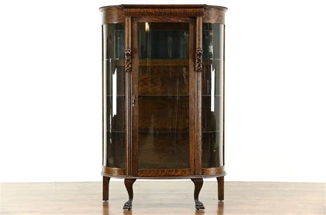 curved glass curio cabinet sold oak antique 1900 curved glass curio china display