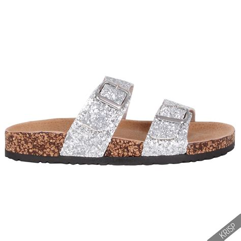 comfort sandals womens womens glitter strappy arizona mule slip on sandals