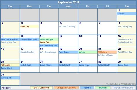 Calendar 2018 Excel With Holidays September 2018 Calendar With Holidays Calendar Template