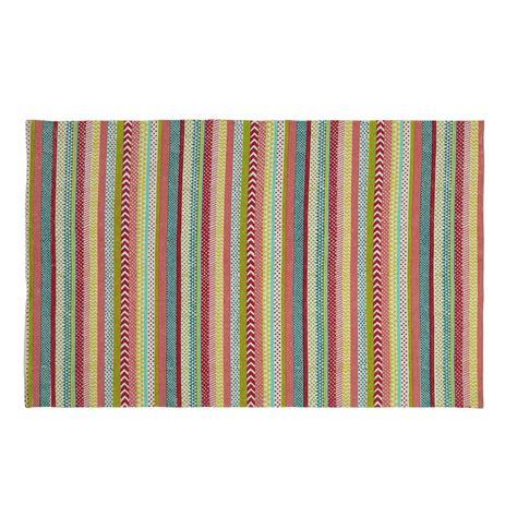 cotton striped rug twist cotton striped rug multicoloured 120 x 180cm maisons du monde