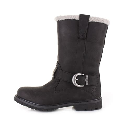 womens timberland nellie pull on black leather lined