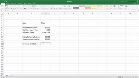 Calculate Simple Burn Rate Youtube Burn Rate Excel Template