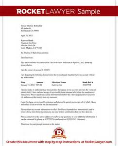 dispute fraudulent bank transaction letter with sample