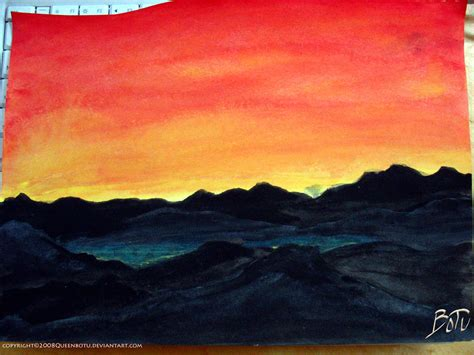 water color sunset mountain sunset watercolor by queenbotu on deviantart