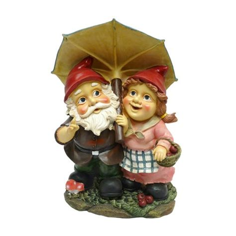 cute garden gnomes cute red gnome couple under umbrella sculpture garden lawn