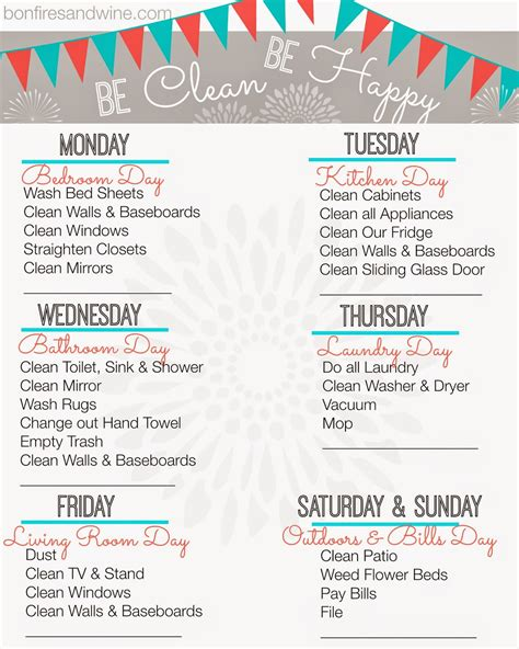 weekly cleaning calendar printable bonfires and wine weekly cleaning schedule free printable
