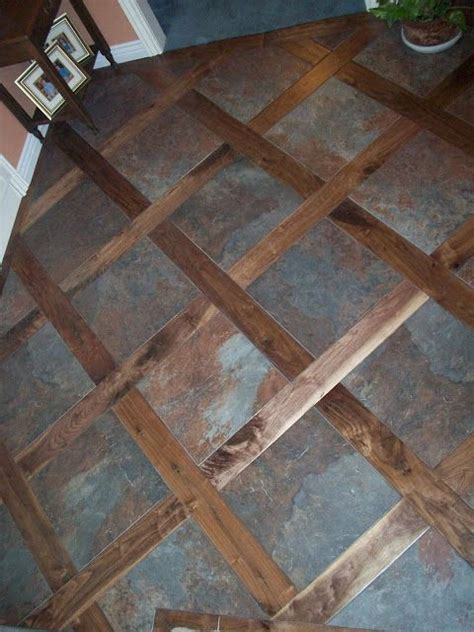 mix wood tile floor a custom tile wood mixed floor idea for