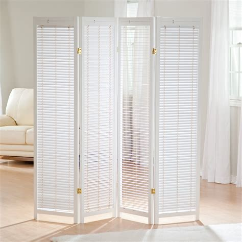 Tranquility Wooden Shutter Screen Room Divider In White Room Divider Screen