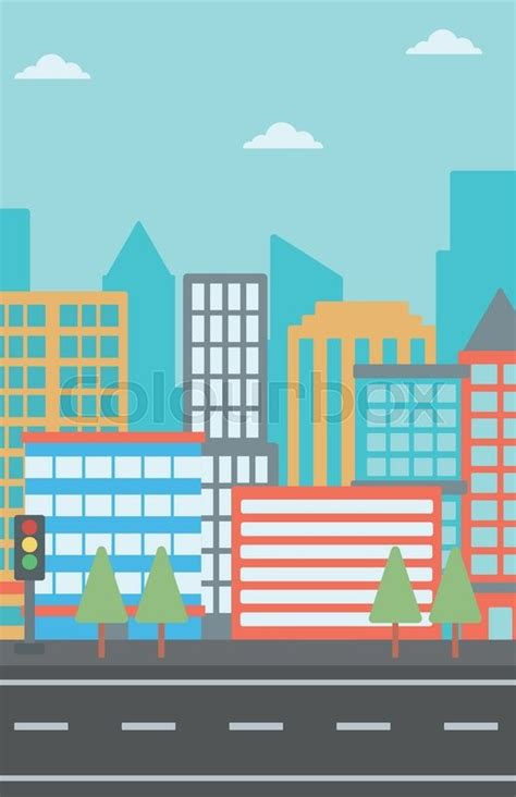 graphic design hill road background of modern city and a road vector flat design