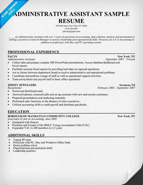 resume template for administrative position sle resume for administrative assistant with no
