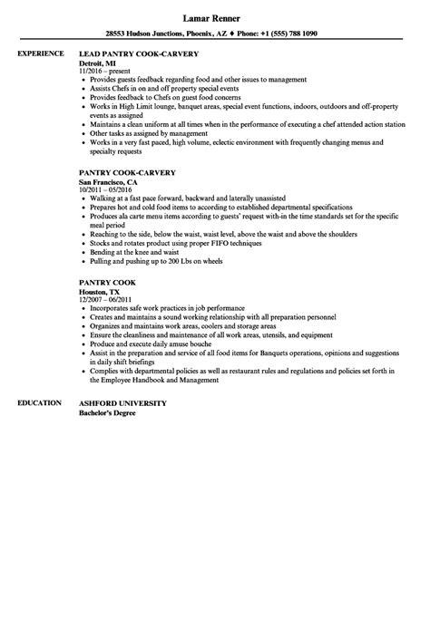 Pantry Cook Resume Samples | Velvet Jobs