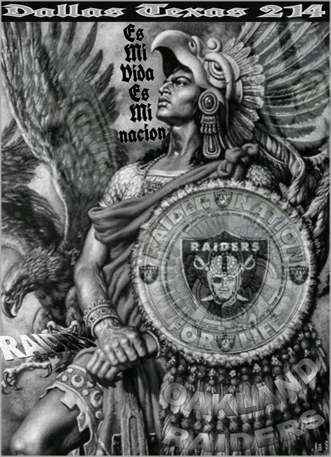 pin  yolanda gallegos  oakland raiders aztec warrior